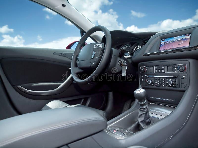 Modern car interior. stock photos