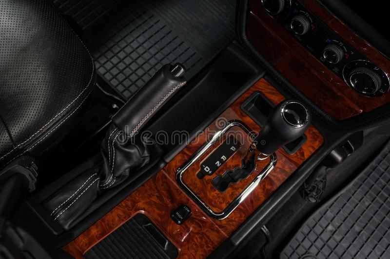 Modern car interior background. Automatic transmission stock image
