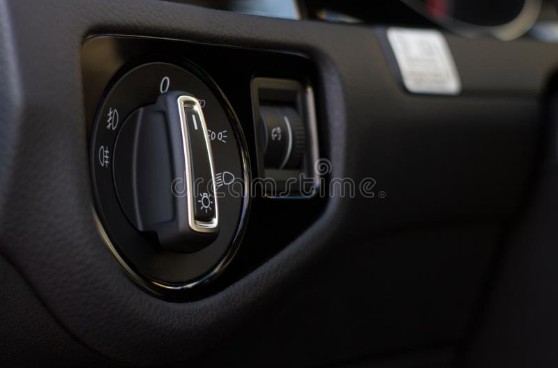 Car interior light control switch stock images