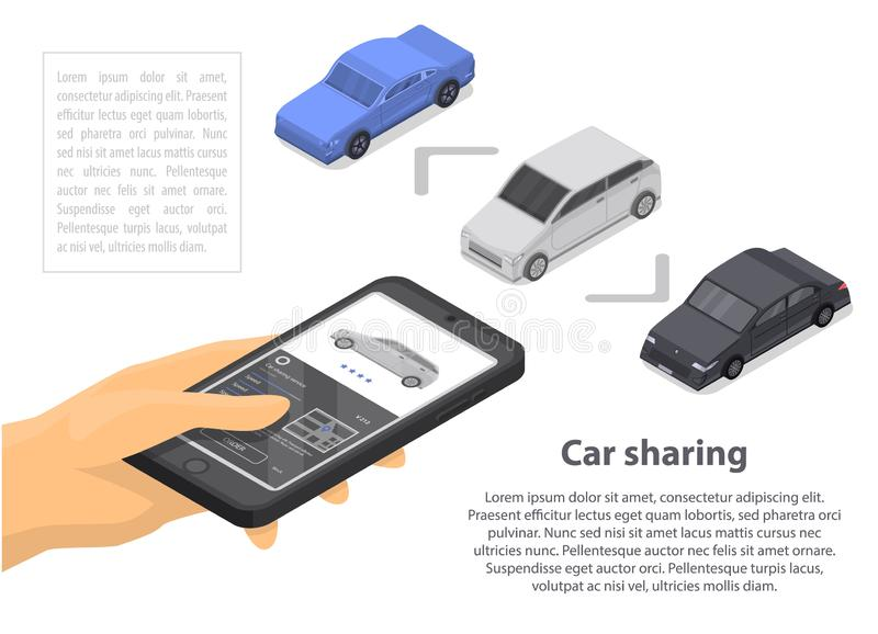 Modern car sharing concept banner, isometric style vector illustration
