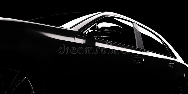 Modern car silhouette in spotlight stock illustration