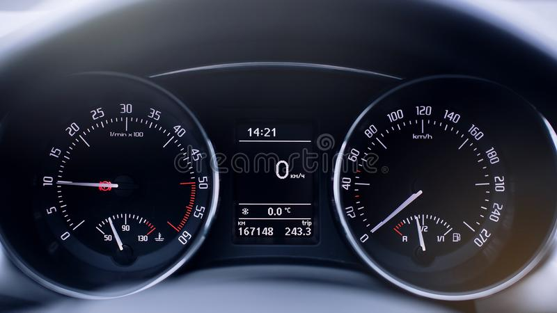 Modern car speedometer close up stock images