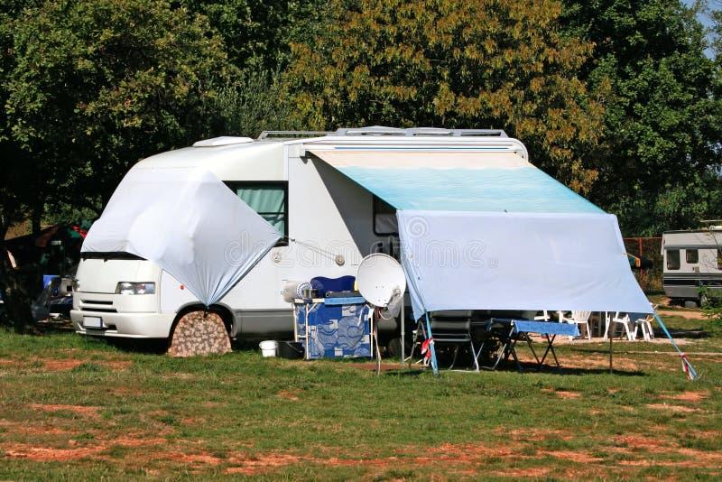 Modern caravan on camp in Croatia. Istria stock photography