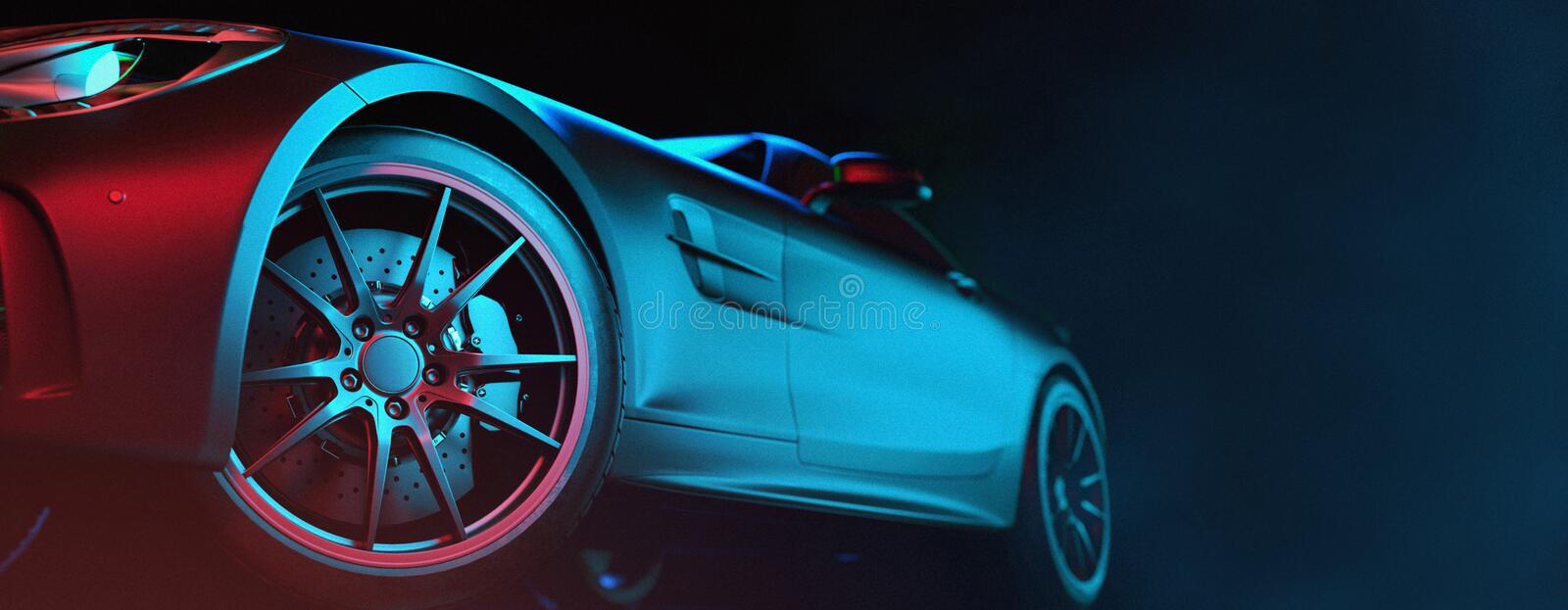 Modern cars are in the studio room. 3d illustration and 3d render vector illustration
