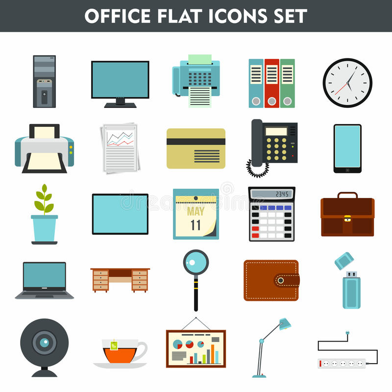 Modern cartoon icons set of office equipment vector illustration