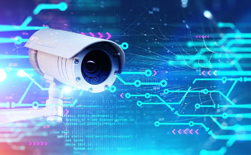 CCTV camera, network interface and code stock illustration