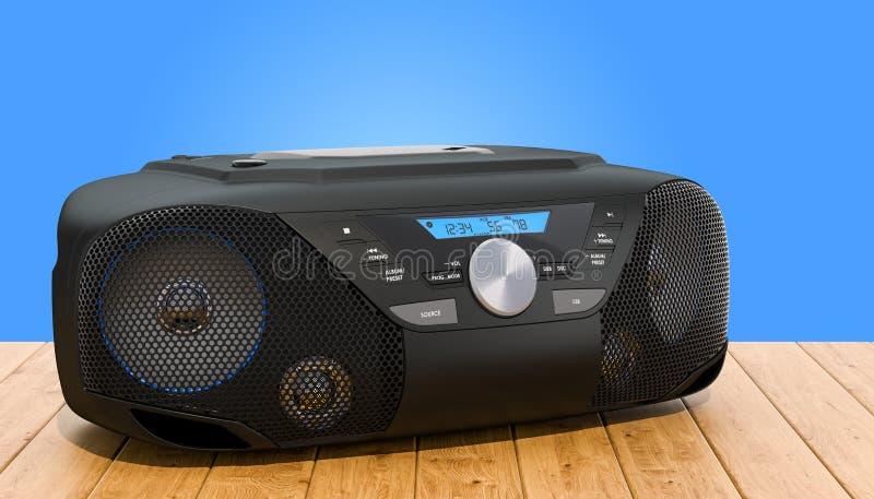 Modern CD Boombox med den stereo- radion f?r AM/FM p? tr?tabellen, tolkning 3D stock illustrationer