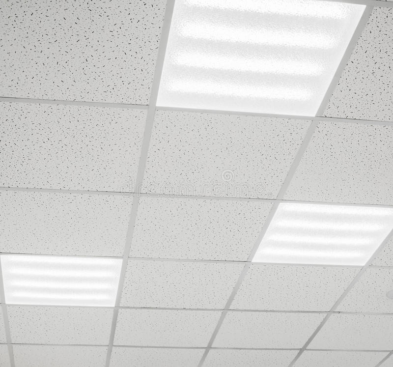 Modern ceiling with LED lamps stock images