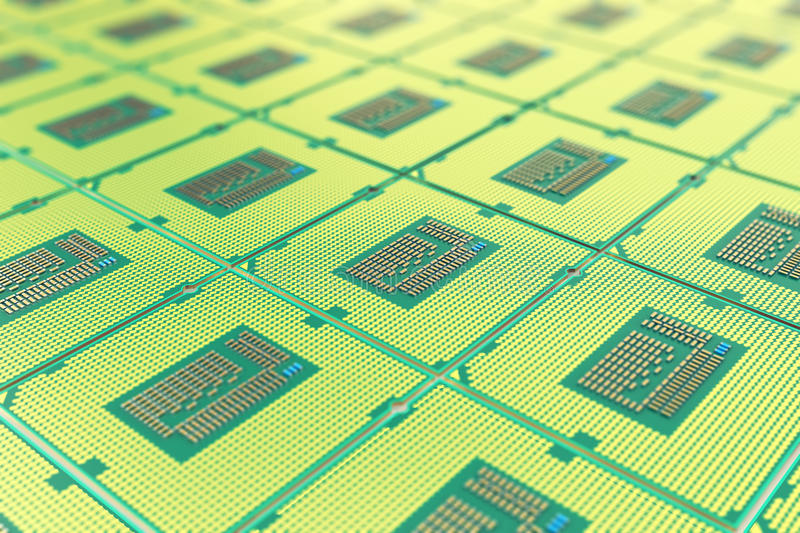 Modern central computer processors CPU, industry concept close-up view with depth of field effect. Modern central computer processors CPU industry concept close stock photography