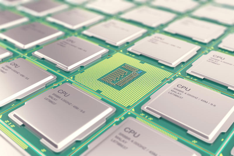 Modern central computer processors CPU, industry concept close-up view with depth of field effect. royalty free illustration