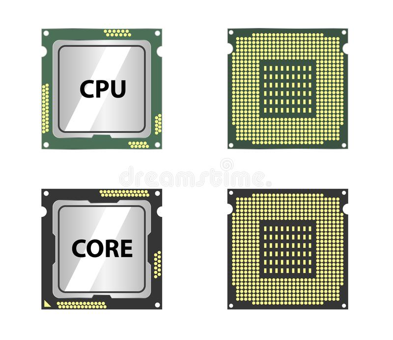Modern central computer processors CPU isolated. On white background royalty free illustration