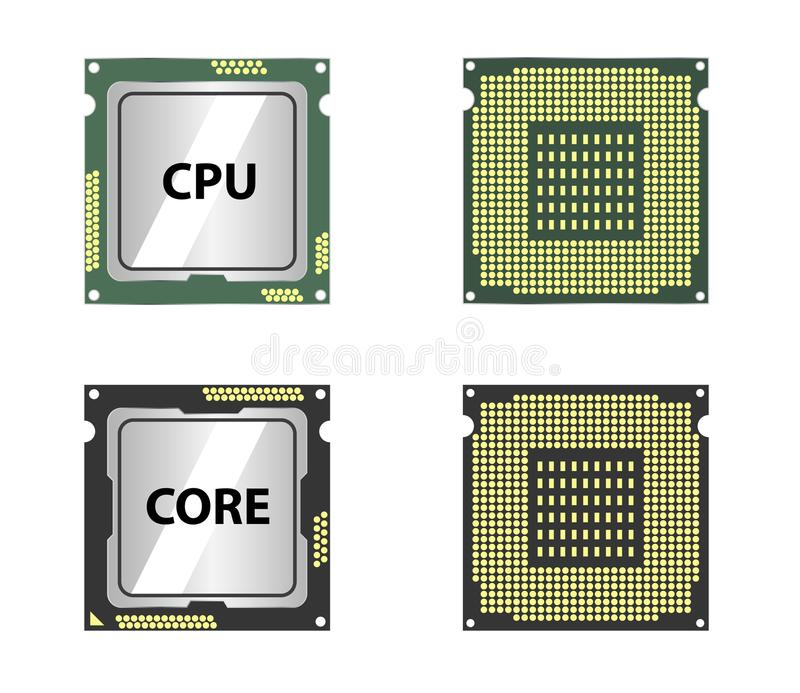 Modern central computer processors CPU stock illustration