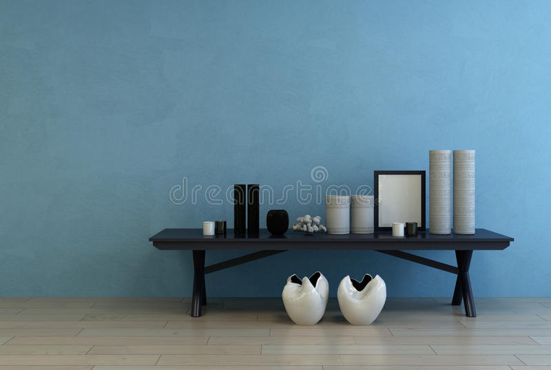 Modern ceramics and frame on a small side table royalty free stock photo