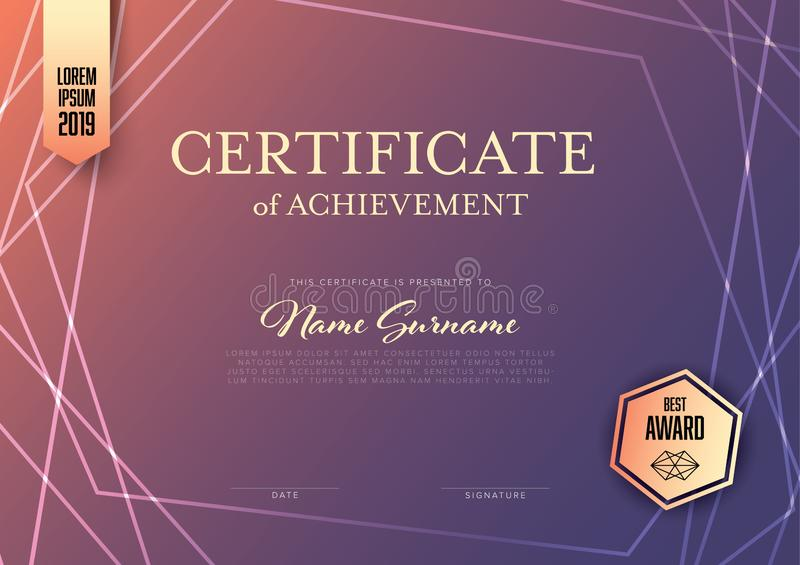 Modern certificate template layout stock photography