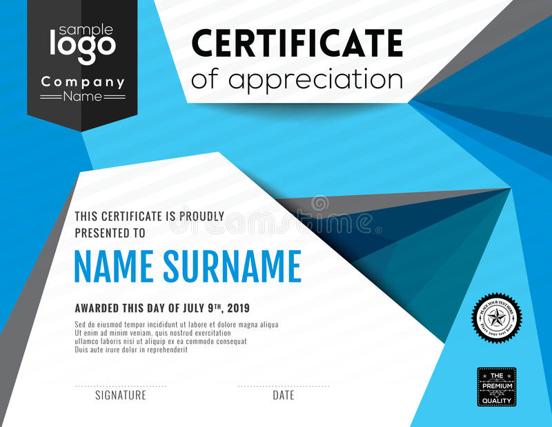 Modern certificate background design template stock illustration