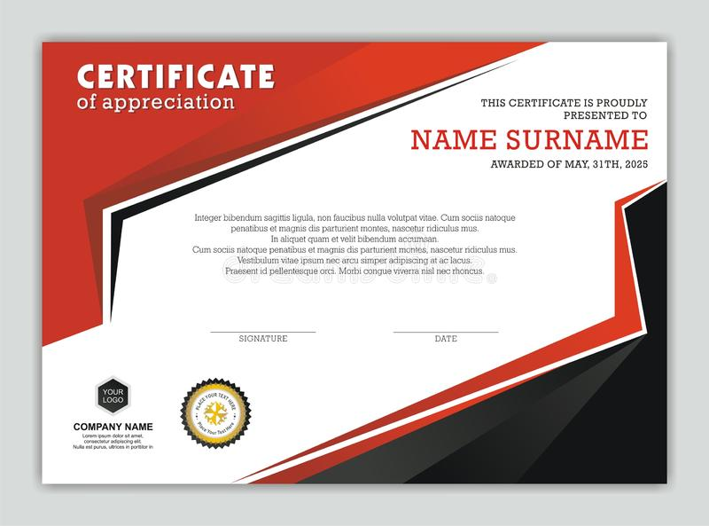 Modern Certificate or Diploma with Stylish Design stock illustration
