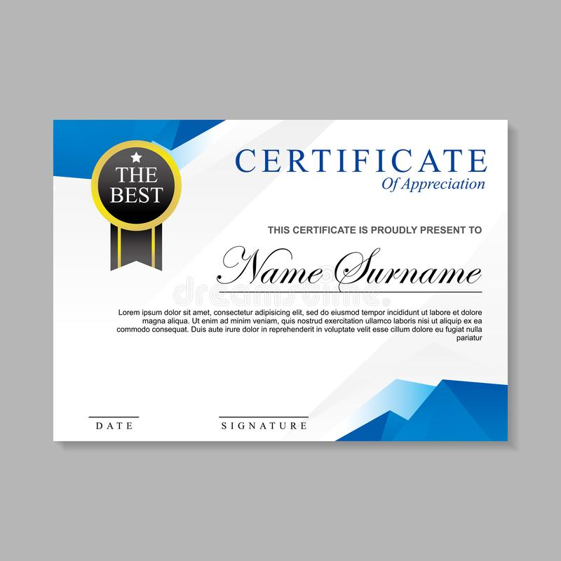 Modern certificate template design with blue and white colo. R suitable for appreciation, diploma or award royalty free illustration