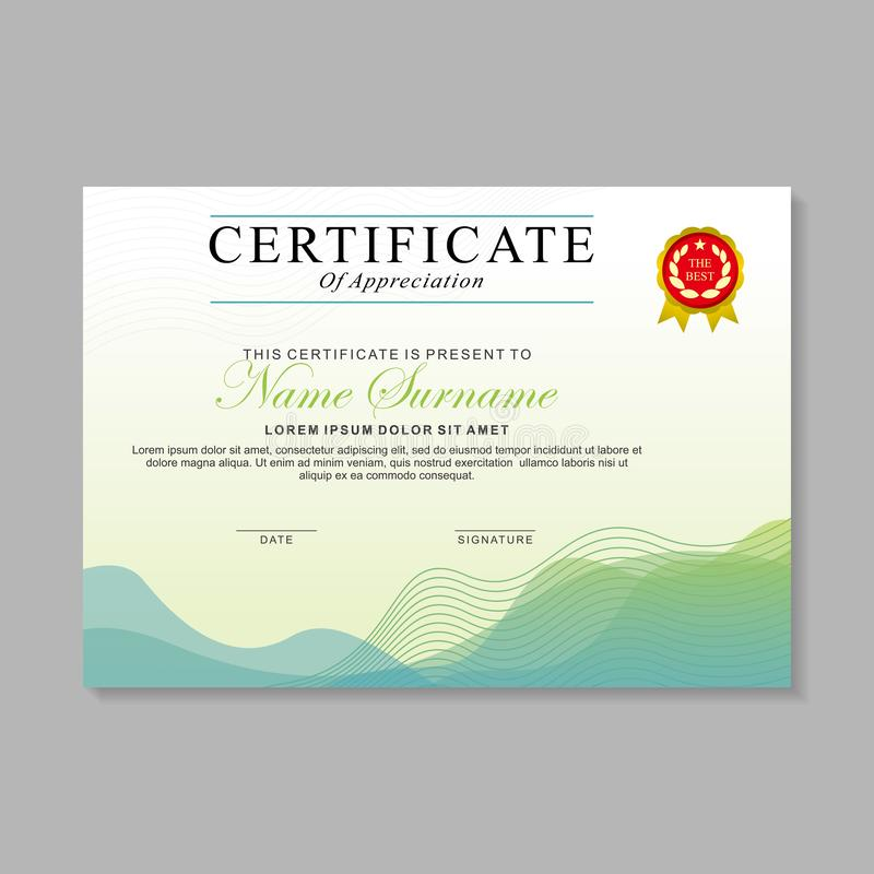 Modern certificate template design with green and white color 库存例证