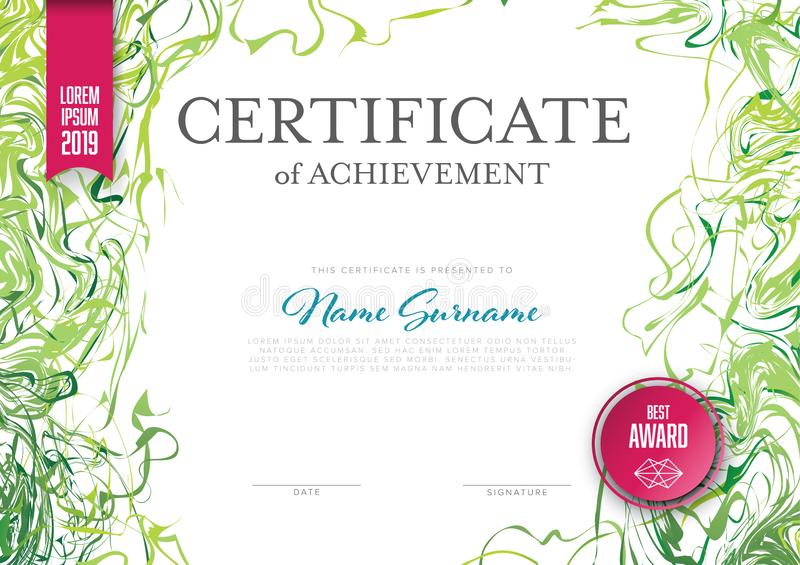 Modern certificate template layout vector illustration