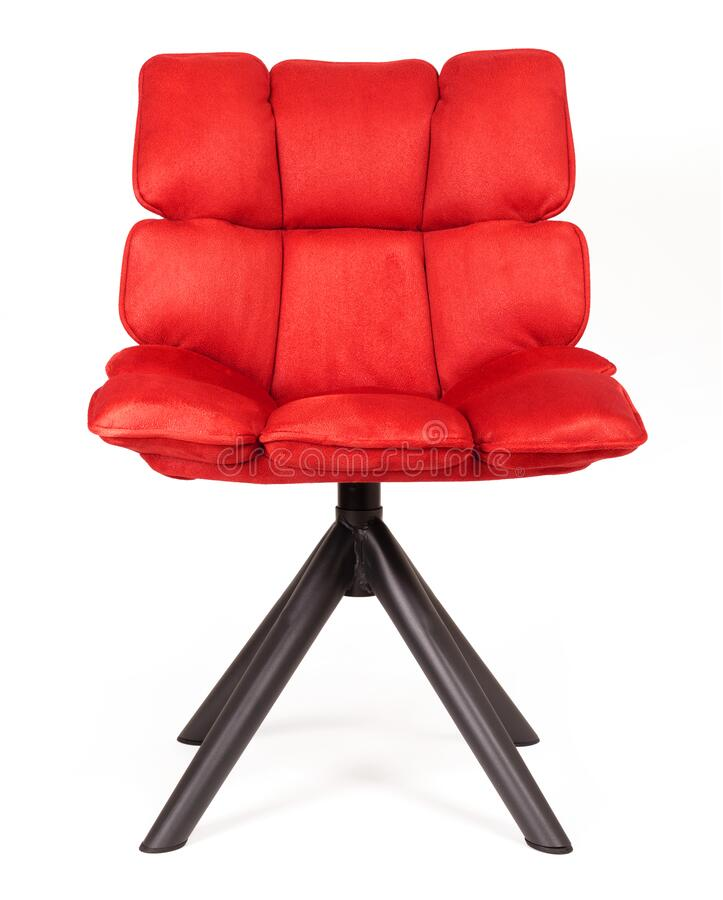 Modern chair made from suede and metal - Red. Modern chair made from suede and metal, isolated on white - Red royalty free stock image