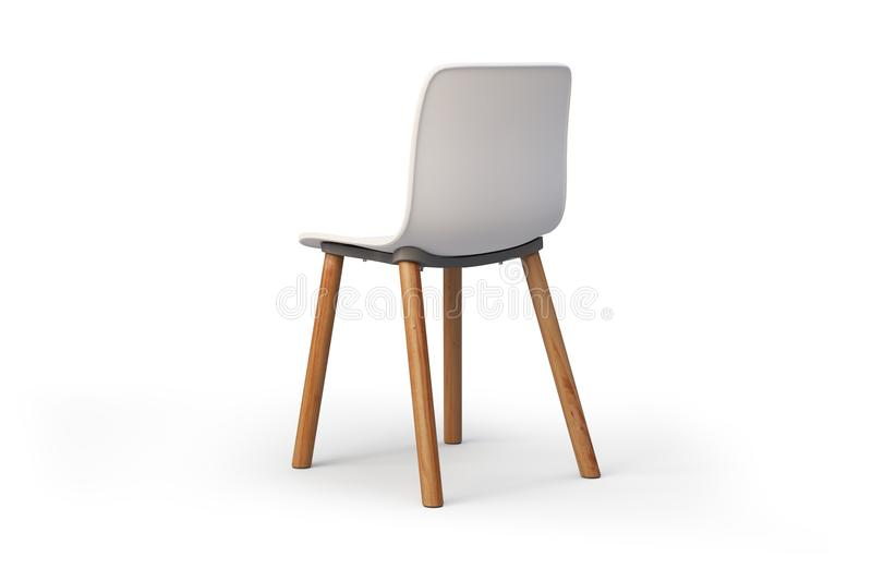 Modern white chair. Wooden base. 3d render. Modern chair with white plastic seat and wooden base on white background with shadows. 3d render royalty free illustration