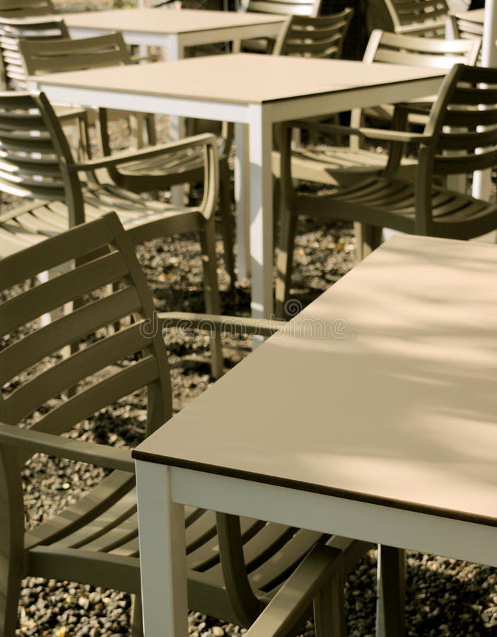Modern chairs and tables stock images