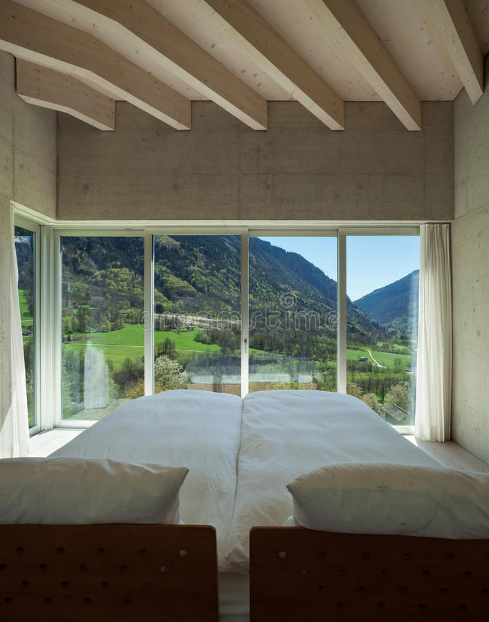 Modern chalet, bedroom royalty free stock images