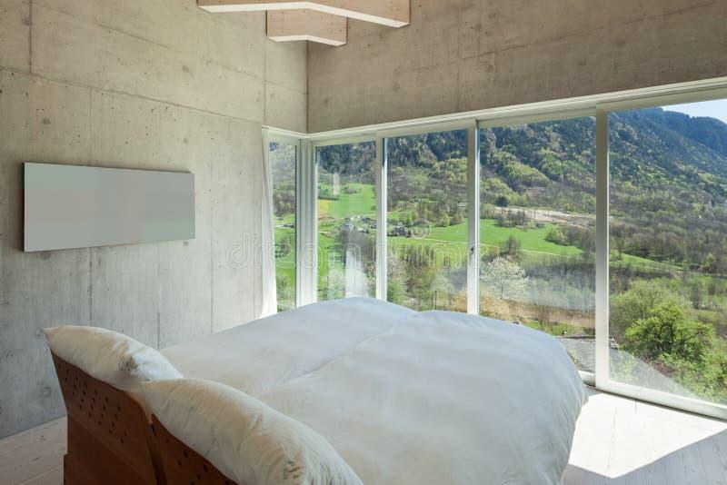 Modern chalet, bedroom stock images