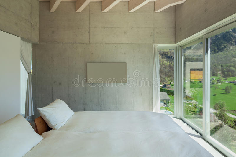 Modern chalet, bedroom royalty free stock image