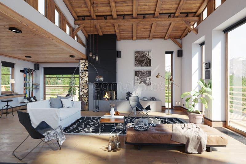 Modern chalet interior. stock illustration