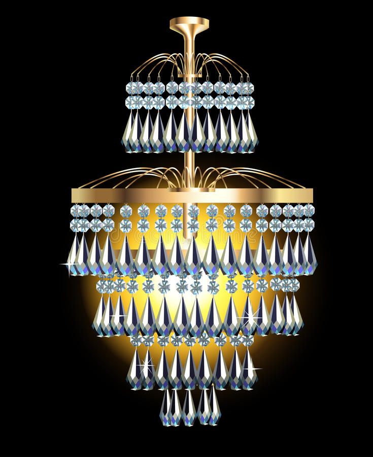 Modern Chandelier With Crystal Pendants On The Bla Stock Images