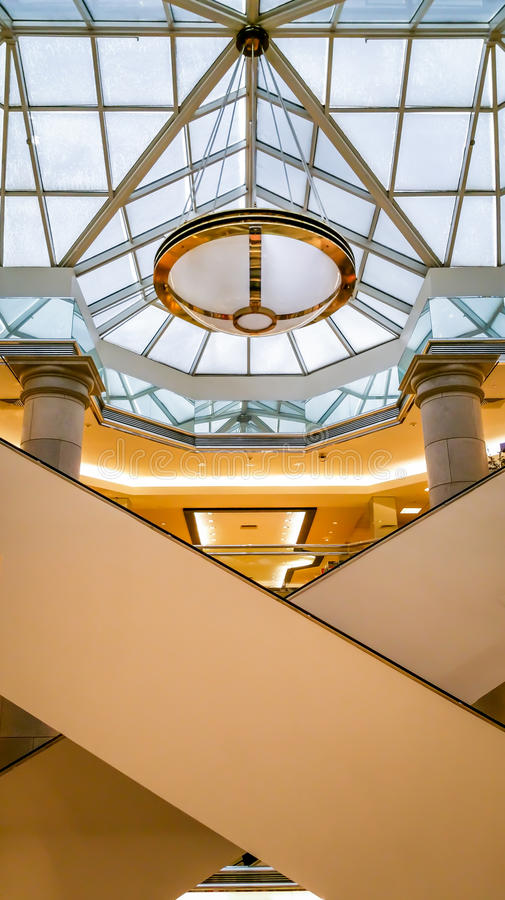 Modern Chandelier in modern interior space stock photo