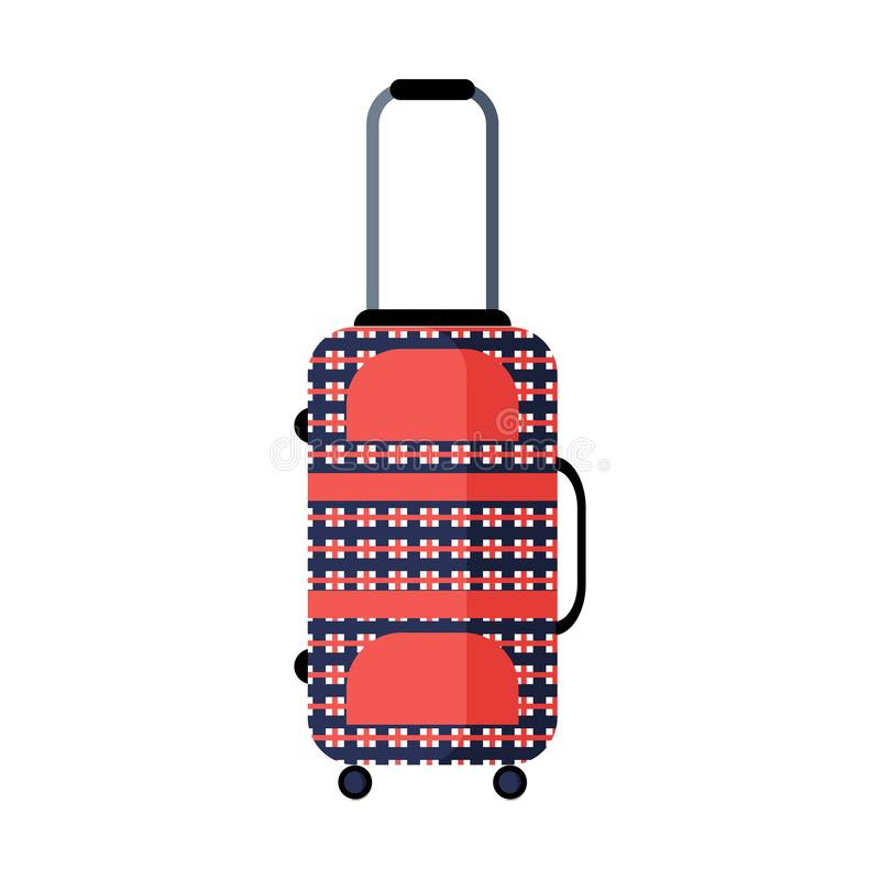 Modern checkered red and blue travel suitcase. Flat vector icon. Isolated object on white background. Odern checkered red and blue travel suitcase stock illustration