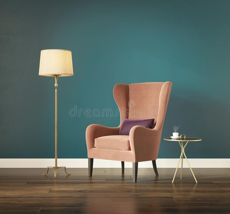 Modern chic classic interior with wing back armchair vector illustration
