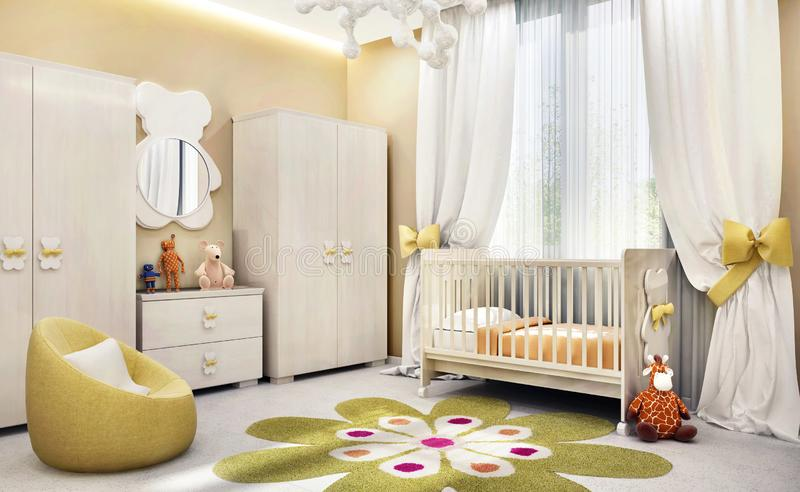 Modern children`s room for baby stock image