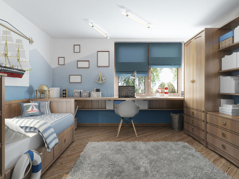 Download Modern Childrenu0027s Room For A Teenager In A Nautical Style With F  Stock Illustration
