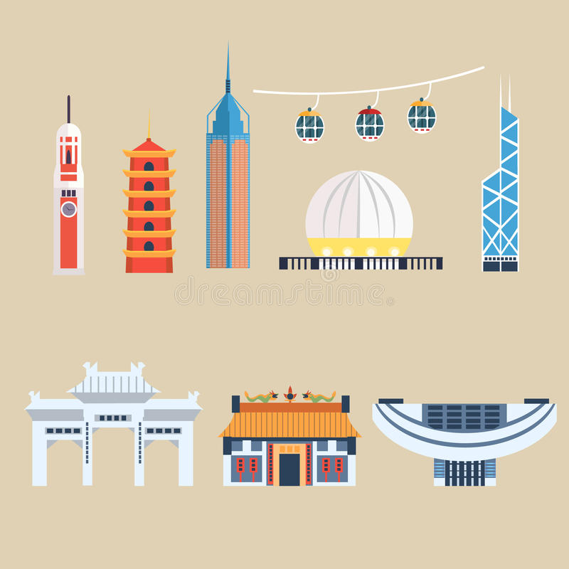 Modern Chinese Buildings, Hong Kong travel elements. Vector Illustration Set vector illustration