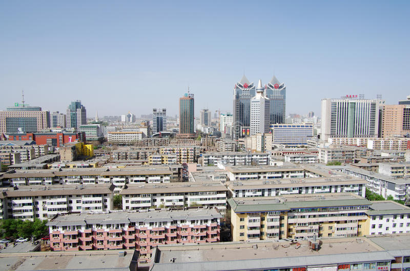 Modern Chinese city of Yinchuan royalty free stock photo