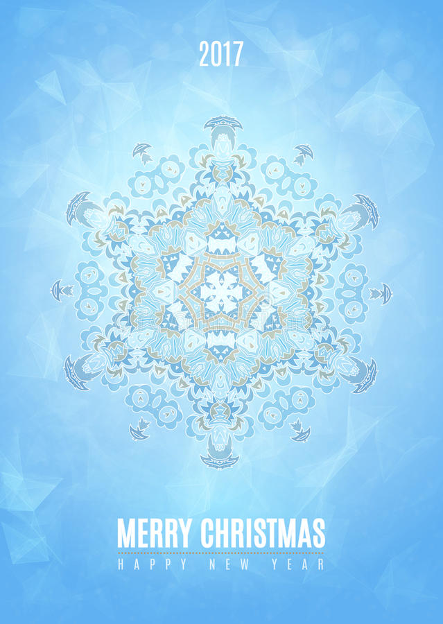 Modern Christmas fancy winter snowflake card stock illustration