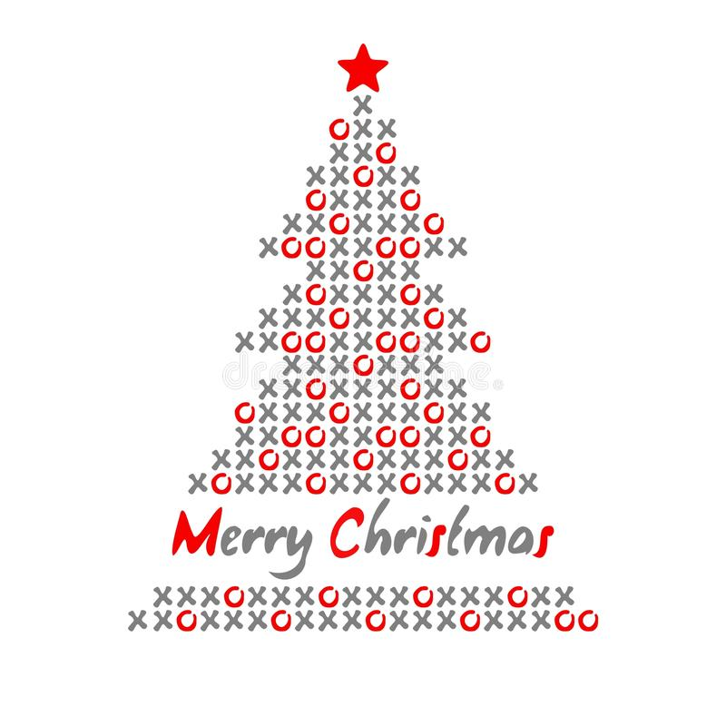 Download Modern Christmas Tree Card With Noughts and crosses,  Illustration Stock Illustration - Image: 34323518