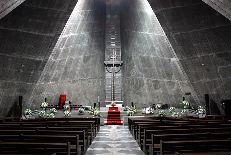 Modern church. Interior of a modern church (St. Mary's Cathedral Tokyo) made of grey concrete stock photo