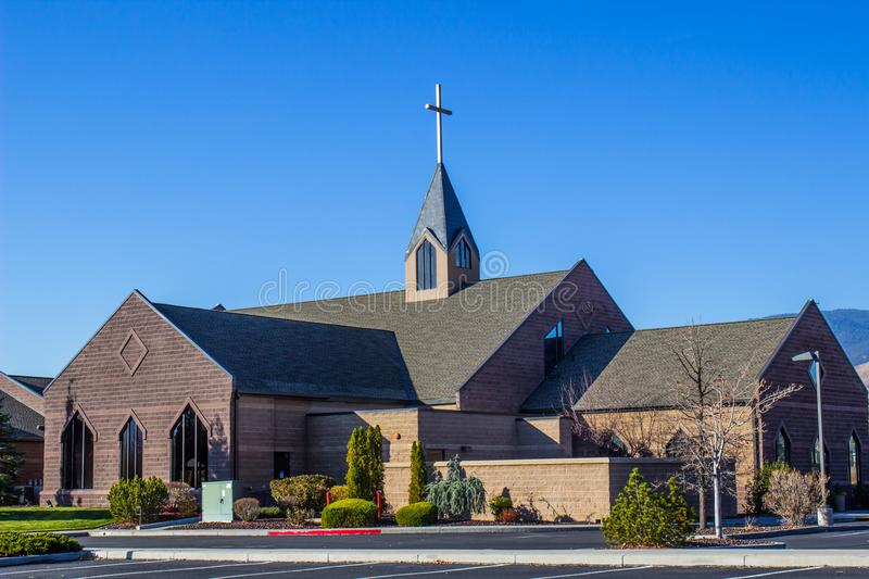 Modern Church With Steeple. Modern Church With Cross & Steeple royalty free stock photography