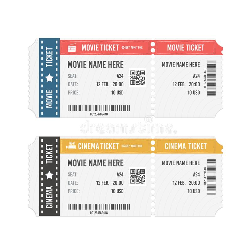 Modern cinema or movie tickets isolated on white background. Realistic front view vector illustration. stock images