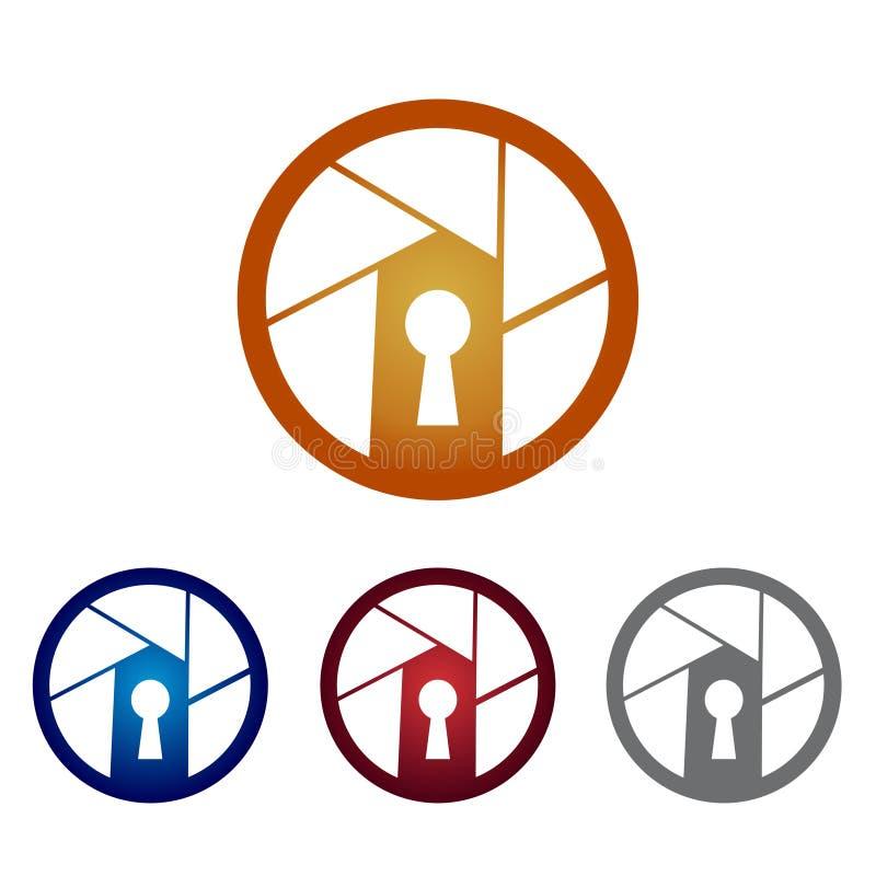 Modern Circle Security Surveillance Camera Logo Symbol royalty free illustration