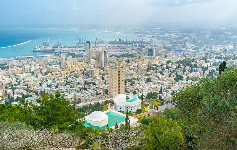 The modern city. The aerial view on the city of Haifa, its modern districts and industrial port, Israel royalty free stock photos