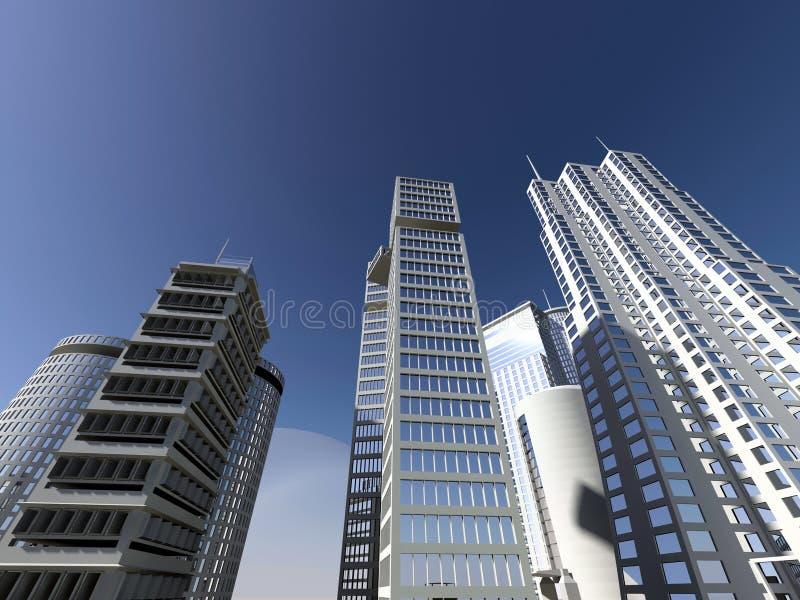 Modern city and blue sky stock photo