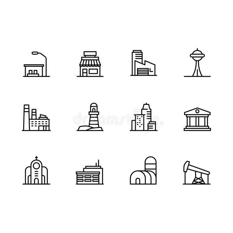 Modern city building icon symbols set. Contains icon cafe, industrial factory, museum, bank, church, residential vector illustration