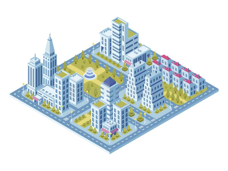 Modern city buildings, police station, road with cars and supermarket building. Town lofts apartments vector 3d vector illustration