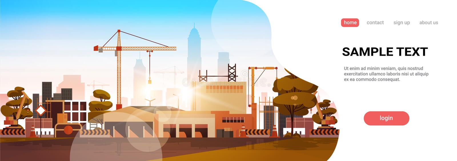 Modern city construction site tower cranes building residential buildings cityscape sunset skyline background flat copy. Space horizontal banner vector vector illustration