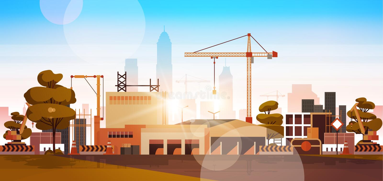 Modern city construction site tower cranes building residential buildings cityscape sunset skyline background flat. Horizontal banner vector illustration vector illustration